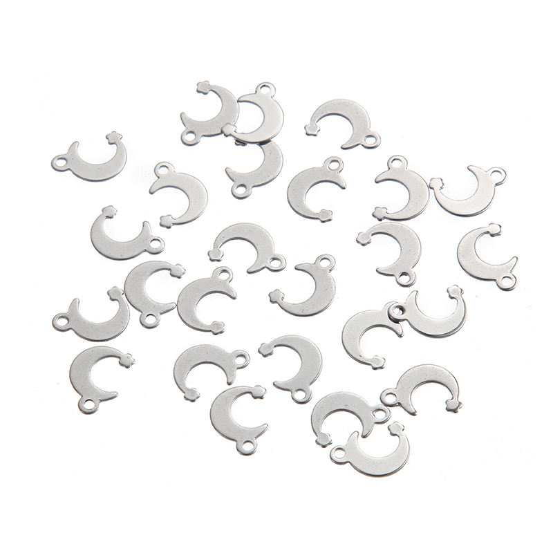 Nieuw product Rvs <span class=keywords><strong>Moon</strong></span> Star Charm Kralen Hanger <span class=keywords><strong>DIY</strong></span> Armband/Ketting 13*8mm