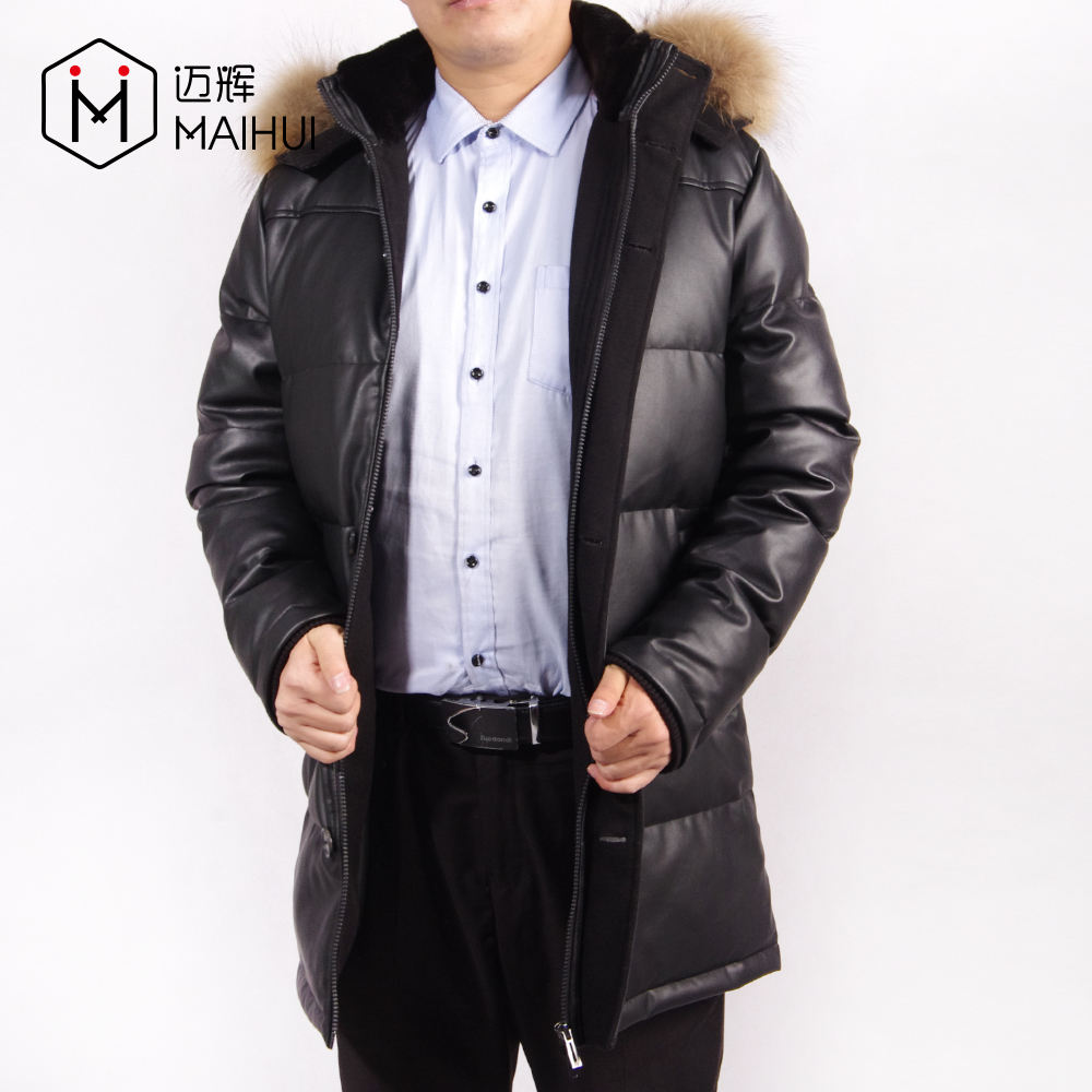 Fashion Men Long Leather Coat jacket For Men Down Jackets With Fur Collar
