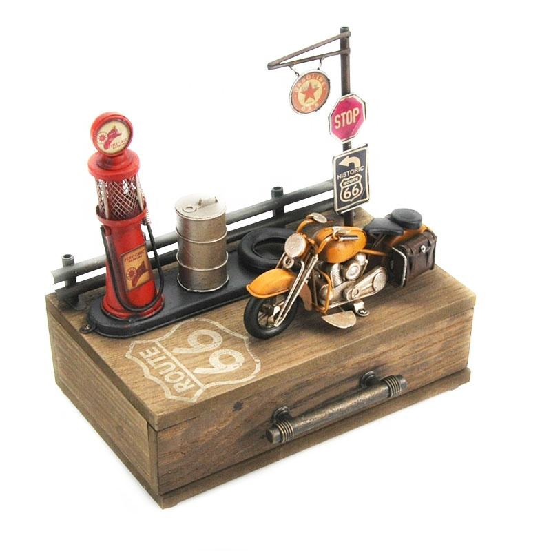 Vintage Home Decor Retro Metal Craft Handmade Furniture With Gas Pump Motorcycle Moel Bar Organizer Drawers Storage Box Cabinet