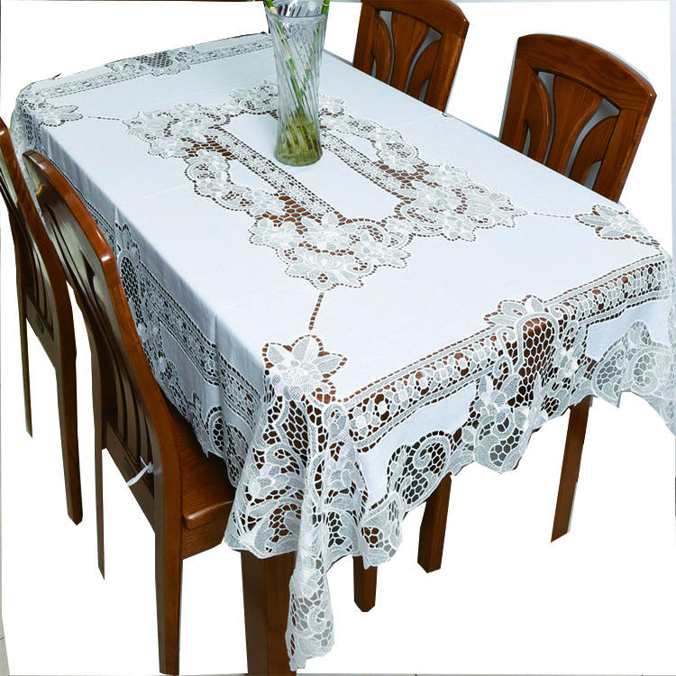 Wholesale Hand-embroidered lace Jacquard Cutwork Tablecloth On The Table tablecloth linen