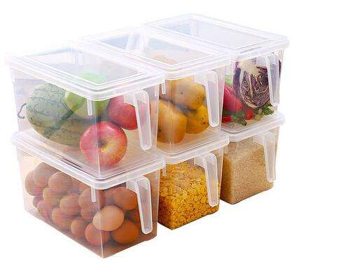 Kitchen Organizer Freezer Refrigerator Storage Stackable Boxes 4.9L Plastic BPA Free Reusable Containers with Lids and Handle