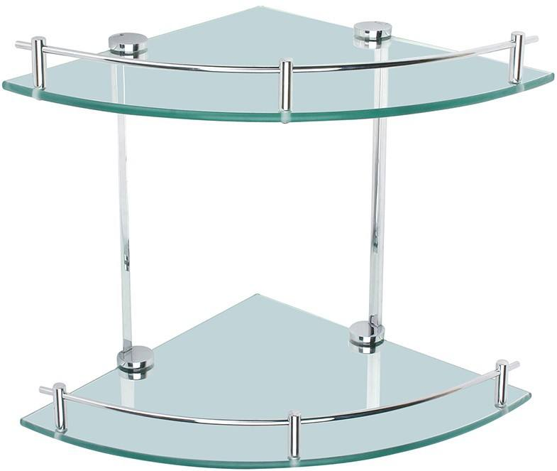 hotel style bathroom accessories double tier triangle wall glass corner shelf