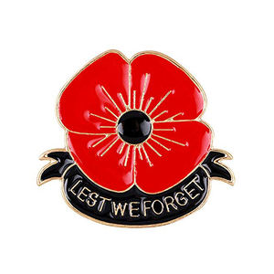 Promotional customized poppy metal lapel pin badge