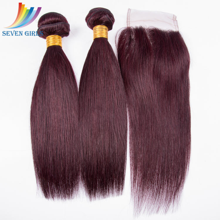 Wholesale Cheap Price Double Stront Weft Silky Straight Short Burgundy Colored Hair Extension For Black Women With Lace Closure