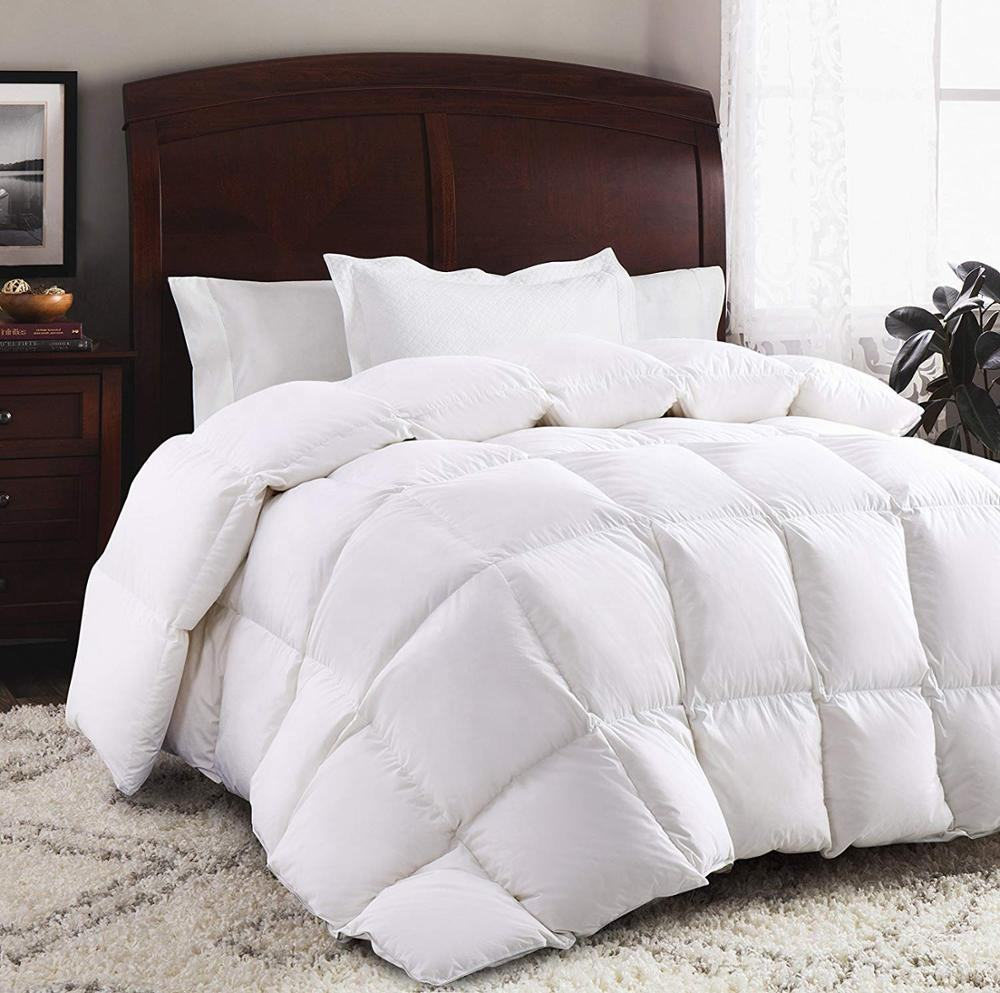 Luxurious Goose Down Comforter King Size Duvet Insert All Seasons Solid White Hypo-allergenic