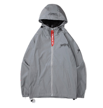 Gray custom windbreaker reflective jacket