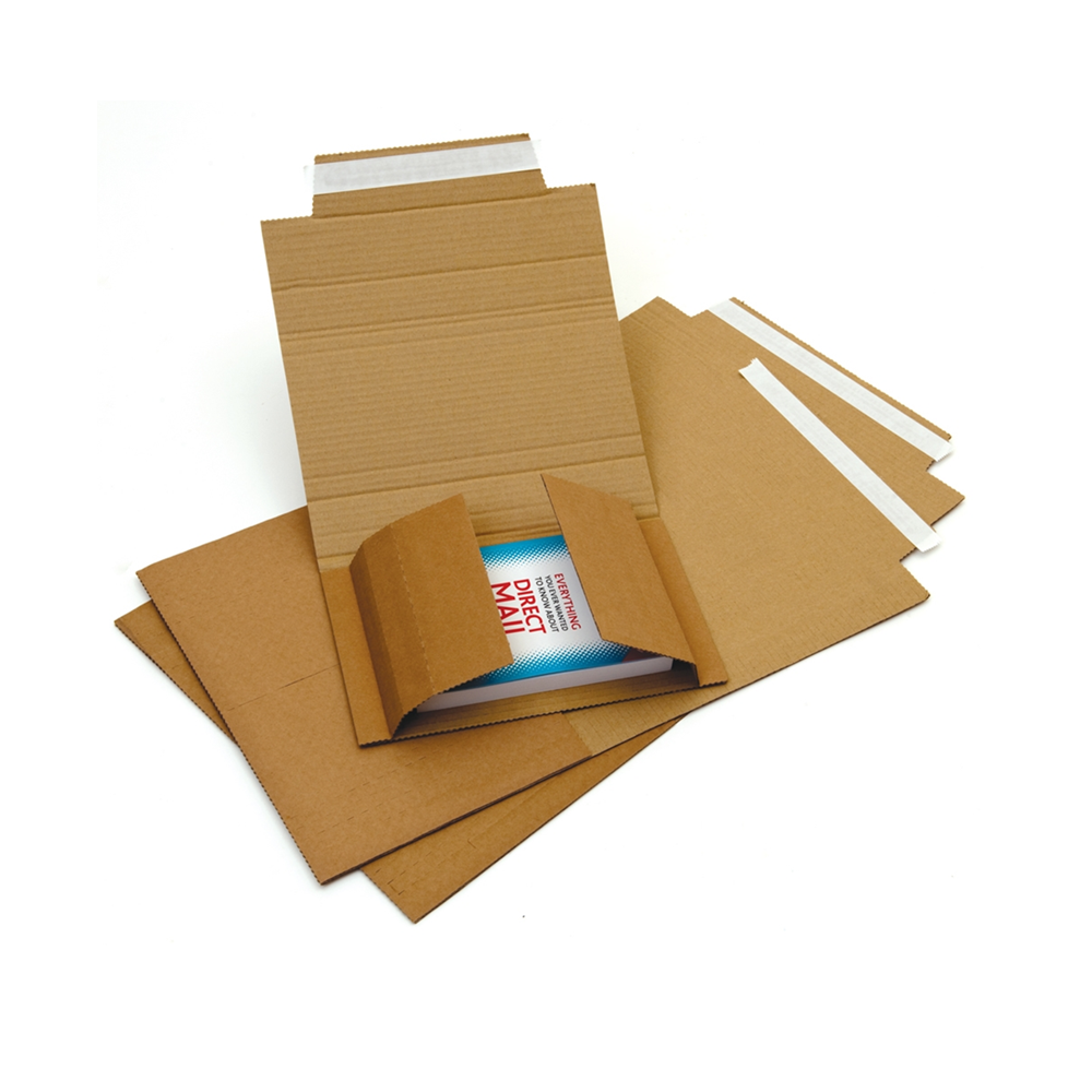 Custom multi color printed corrugated board easy-fold book wrap mailer