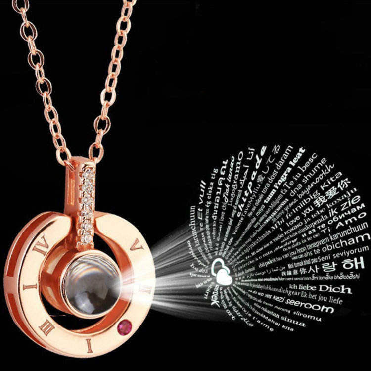 Fashion Romantic Gift Jewelry 100 languages I love you Projection Pendant Necklace