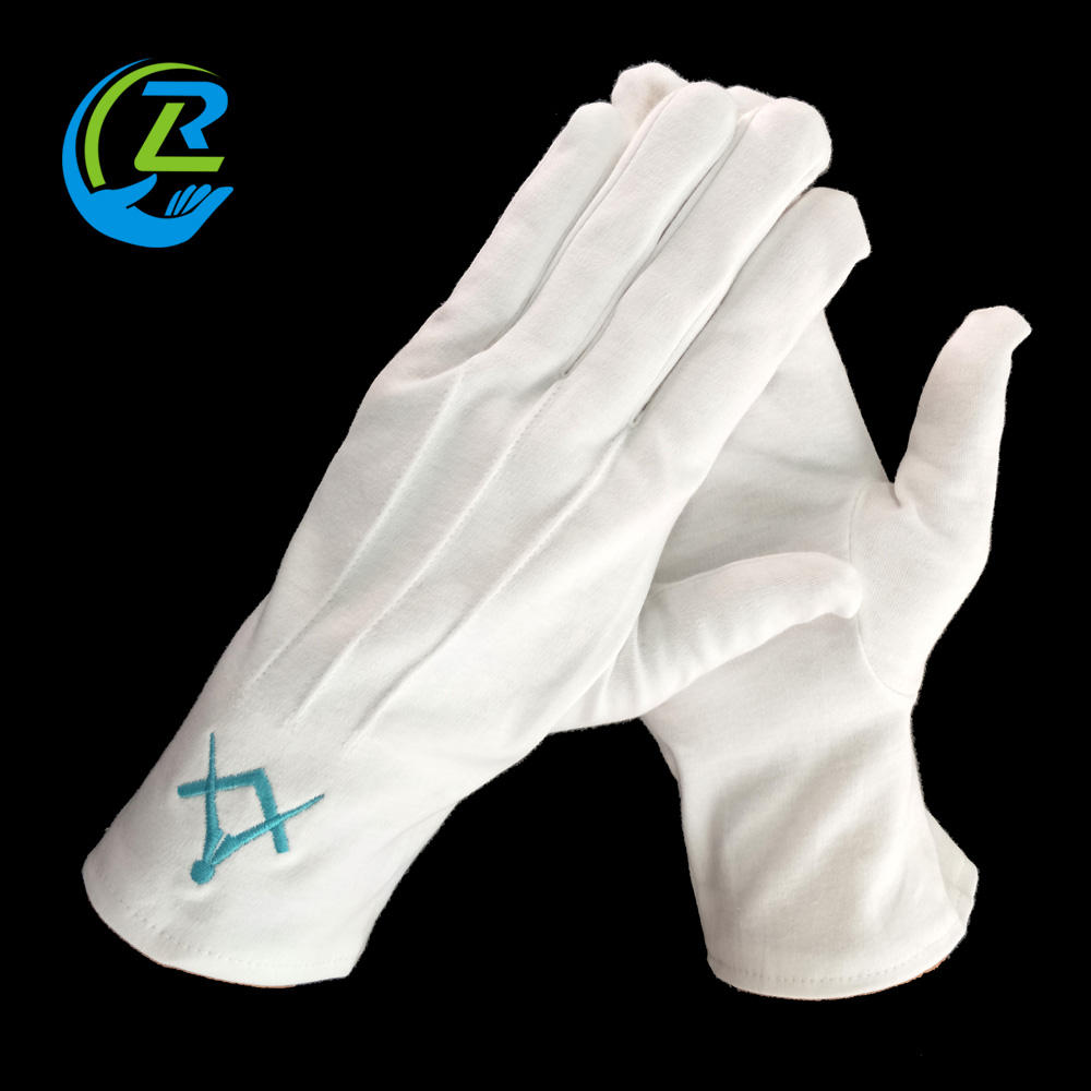 White 100% Cotton Masonic Embroidered Glove free samples