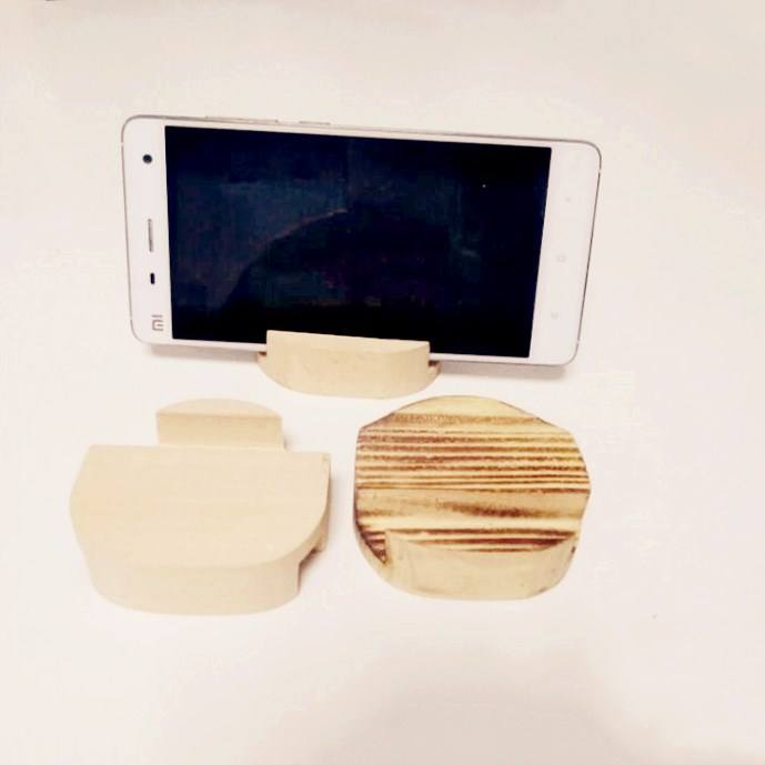 OEM creative novelty natural wood craft wooden mobile phone holder