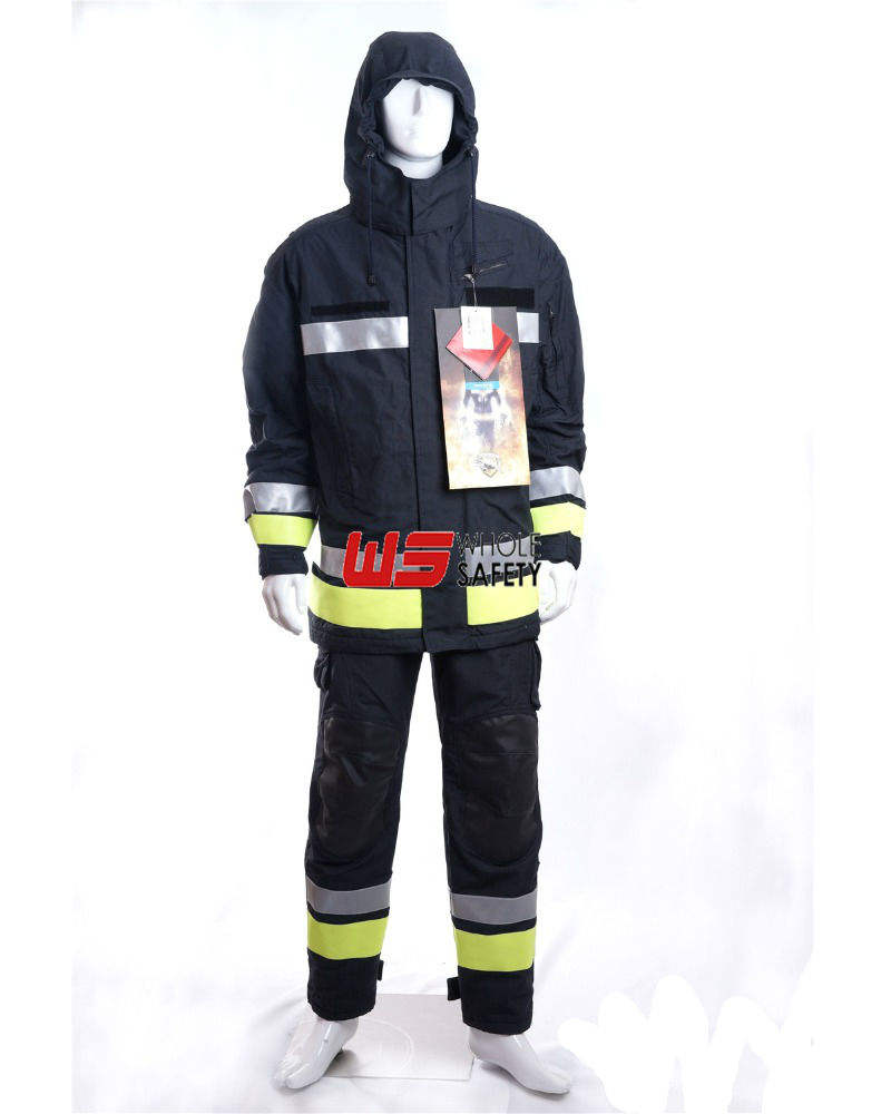 EN 469 4-layer fabric firefighter suite Fluorescent/reflective trim ,jacket and bib pants