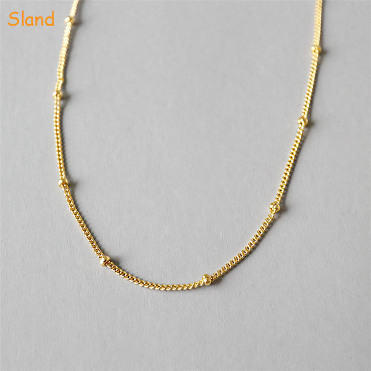 factory custom Minimalist bolo jewellery delicate 14k real gold plated sterling silver chain necklace with beads