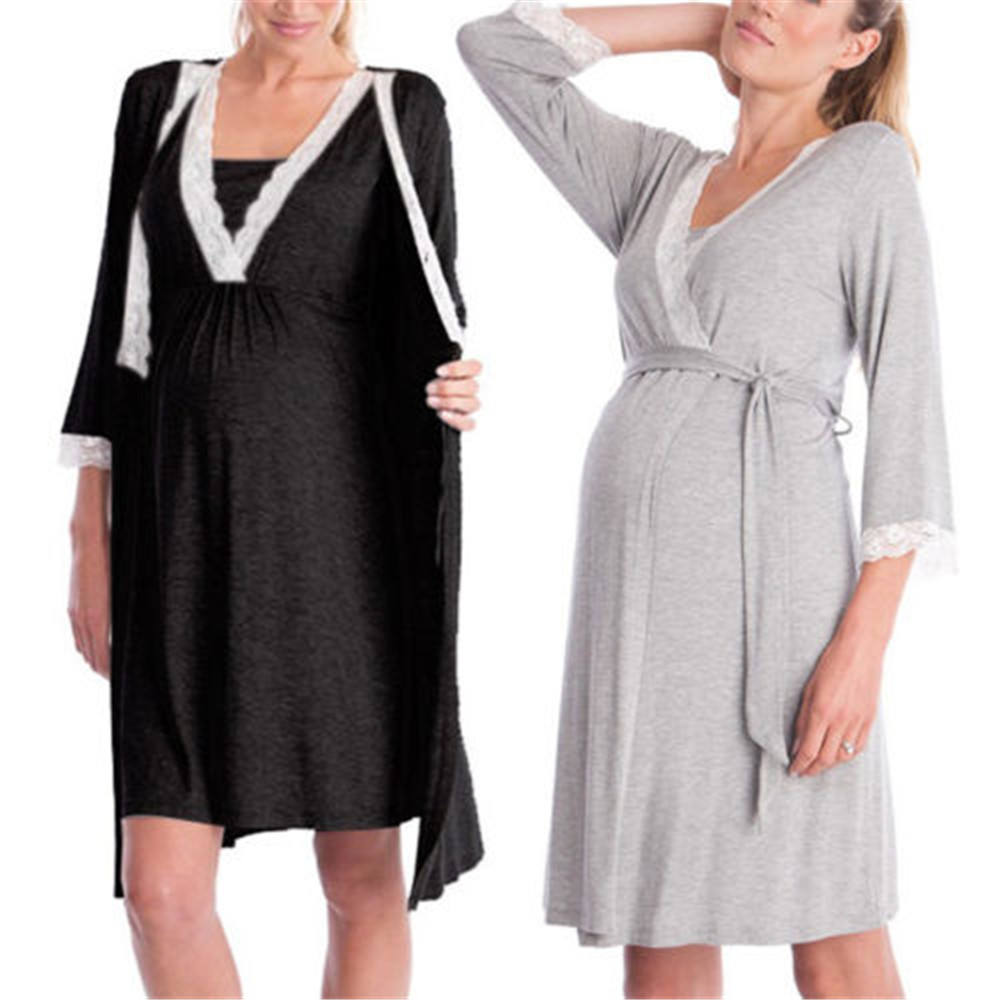 Pregnancy Maternity Sleepwear for Nursing Pregnant Pajamas Breastfeeding Nightgown with Elegant Maternity Nursing Clothes Dress