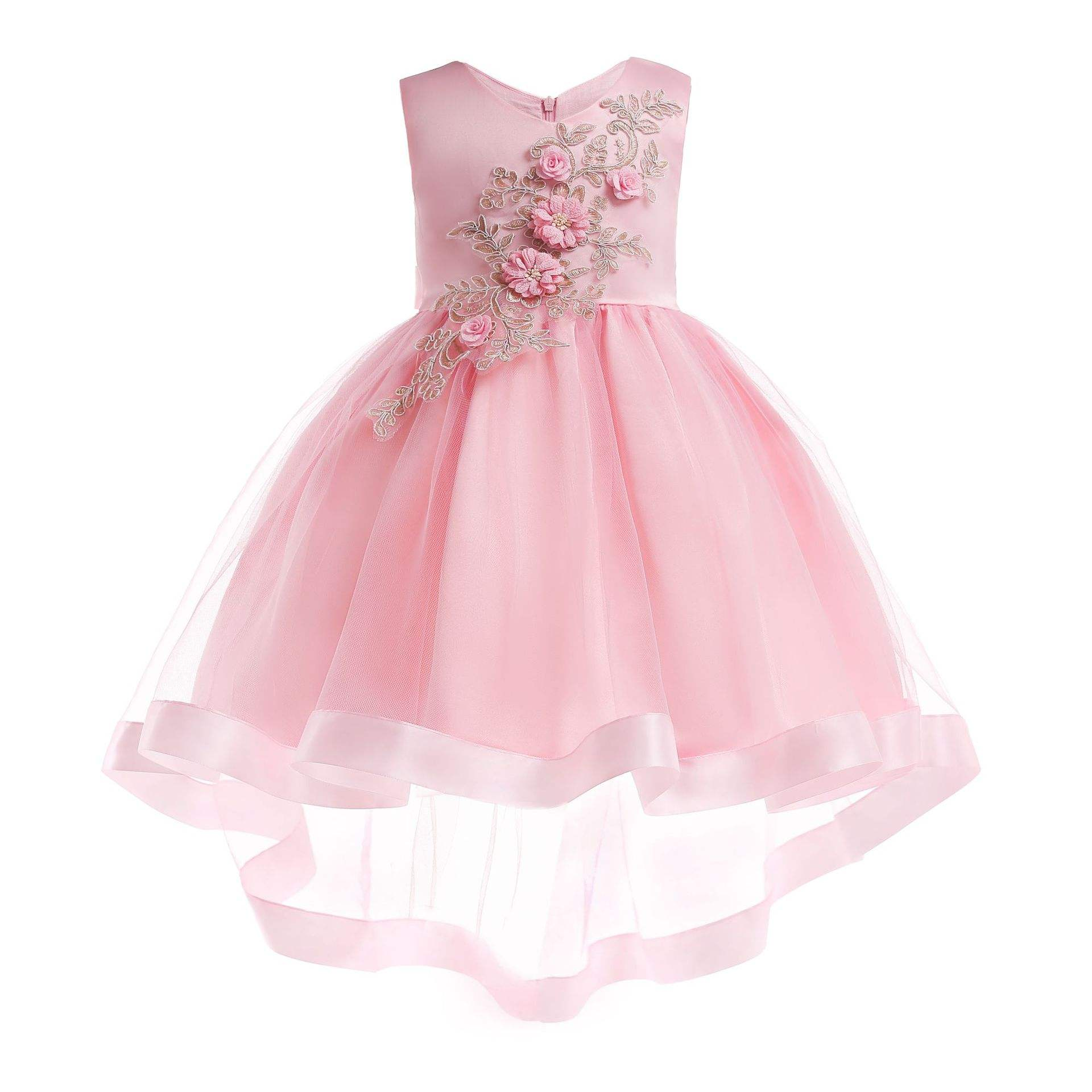 Girls wholesale boutique applique fancy party high-low dress cotton lined pink angel dresses flower girls dress