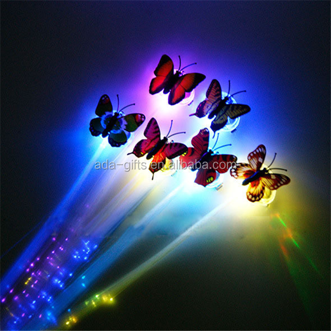 wholesale butterfly led hair clip party favor flashing colorful led hair decoration clip