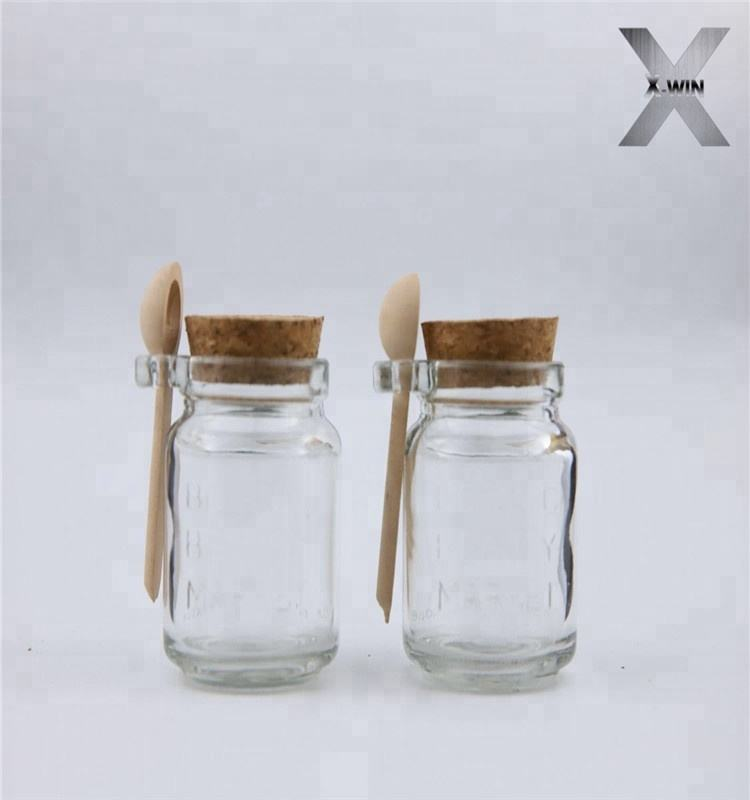 wholesale factory price hot 4oz 5oz 6oz 7oz 8oz 10oz clear packaging glass honey candy food jars bottle with clip lid/wood spoon