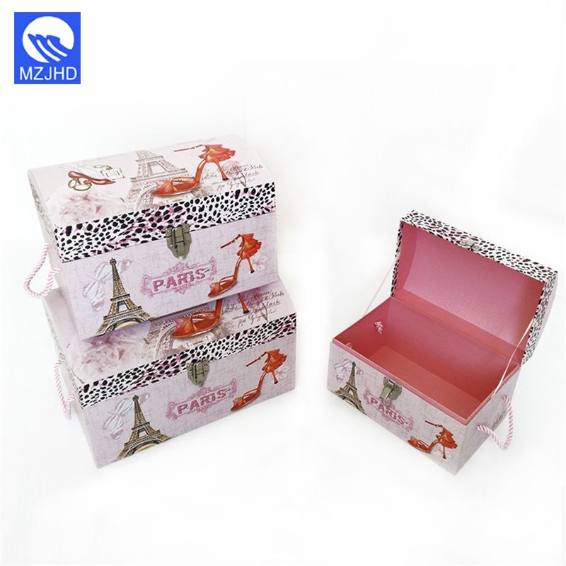 Wholesale multi size custom printed cardboard gift boxes treasure pirate chest with metal lock string handle