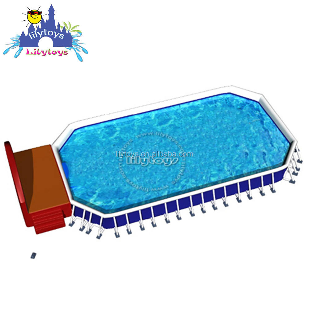 0.9mm PVC inflatable frame pool, big metal inflatable swimming pool for amusement park