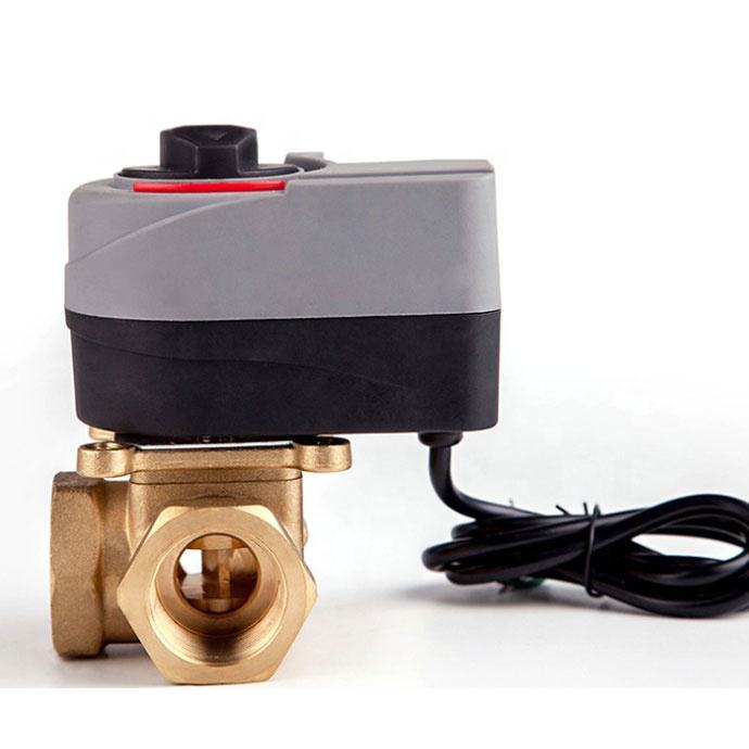 Yuhuan Junxiang best selling Rotary actuator 3 way brass motorized mixing diverting valve