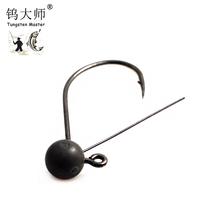 China wholesale round football jig head, Jig fishing hooks with hand tie keeper Tungsten football jig head