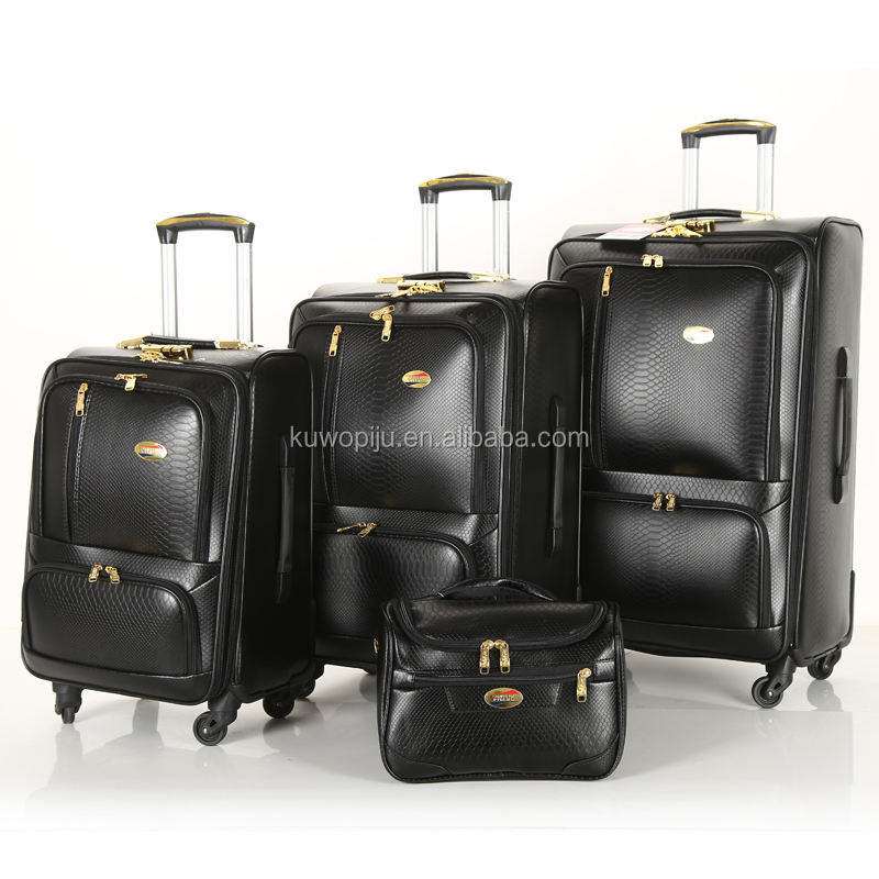 snake leather rolling spinner pu luggage suitcase trolley case 4 wheels leather 3pcs pu luggage