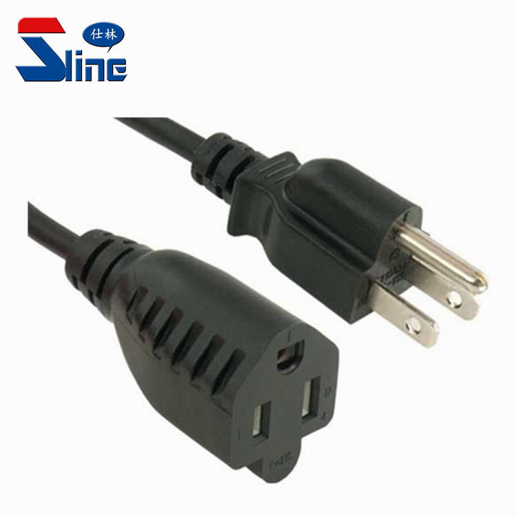 America outdoor Power Extension leads plug NEMA 5-15P to 5-15R mains cable used in American Canada US USA market 15A 125V