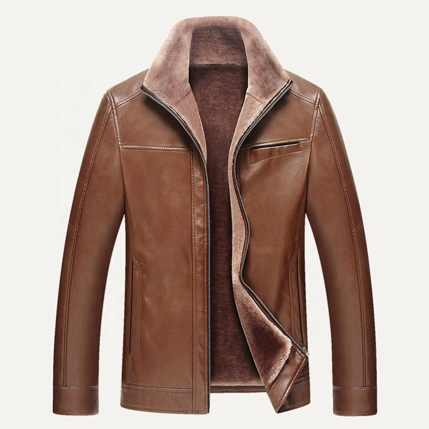Fashion [ Leather Jacket Mens ] Custom Excellent Quality Latest Design Buy Fake Leather Fur Jacket Mens Winter Faux Leather Jacket