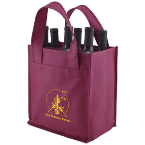 Heavy duty custom design reusable divided 4 6 bottles carrier non woven wine recycle bag