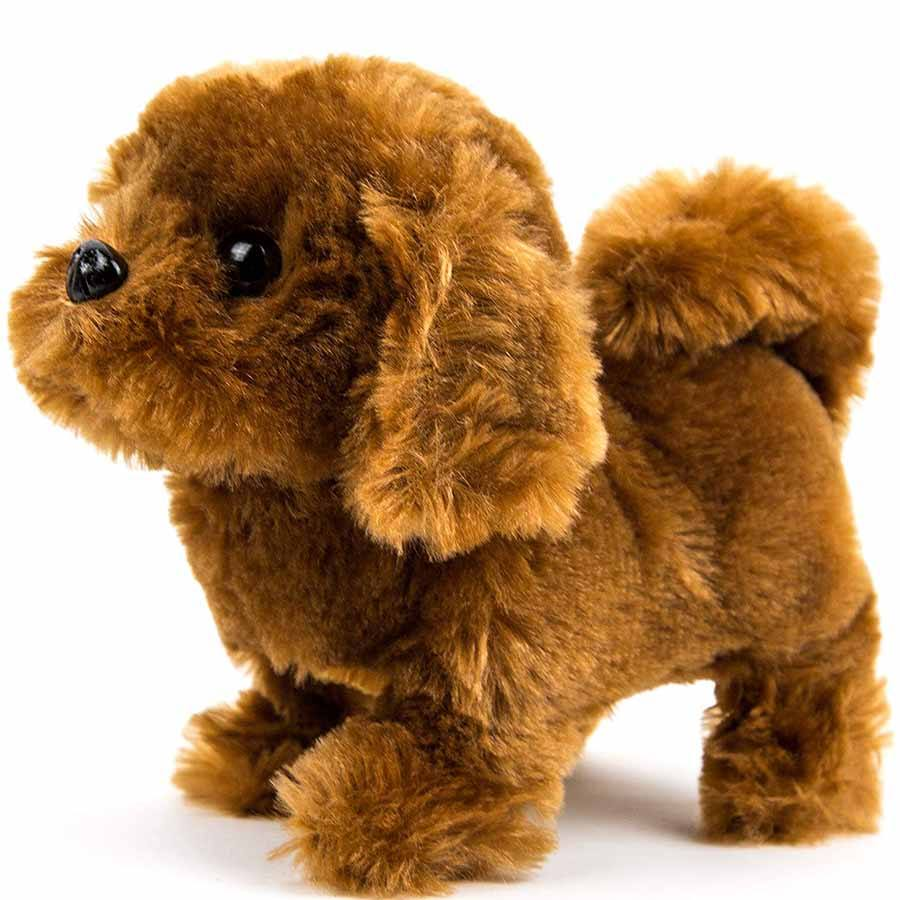 D080 Battery Operated Puppy Plush Dog Kids Toy Walks Barks Dark Brown Battery Operated Plush Animals