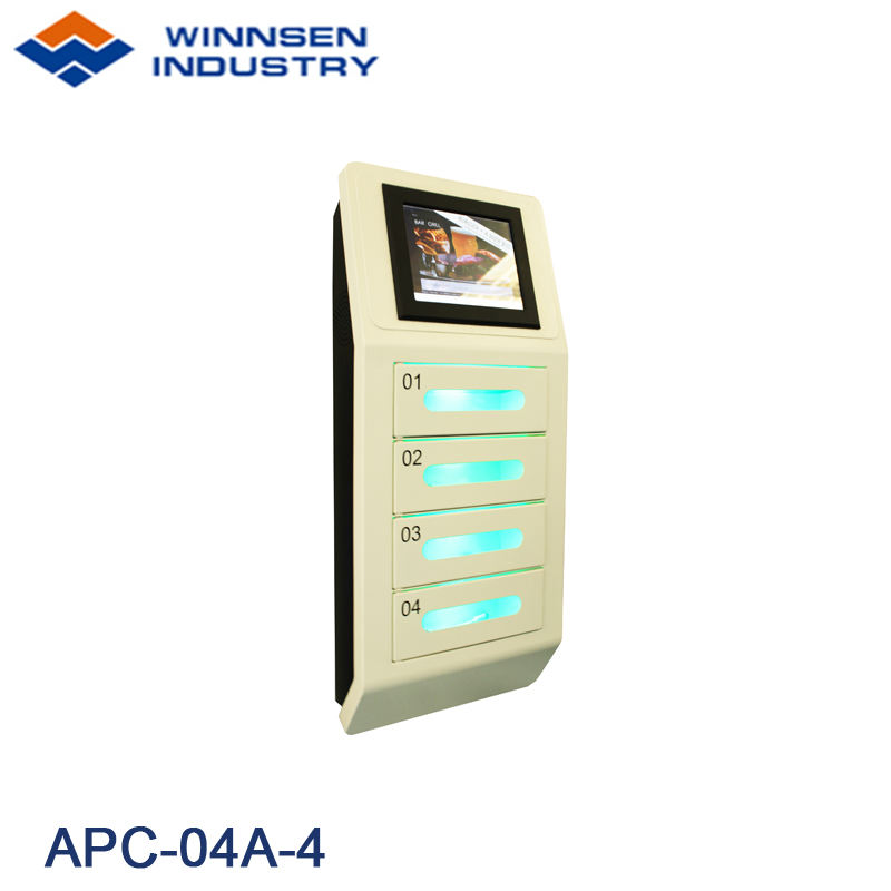 Public Coin Operated Electronic Locker Cell Phone Charging Station Lockers with 4 lockers