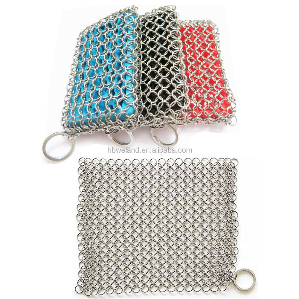 HEBEI WELAND Factory Price Hot Product Amazon Ebay Alibaba Stainless Steel Ring Weave Chainmail Pans Cast Iron Mesh Scrubber