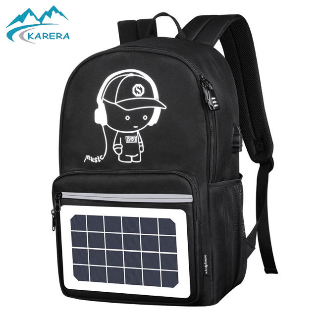 wholesale good quality high power solar panel backpack laptop bag with USB charger Solar backpack