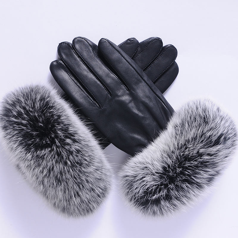 salable warm winter genuine leather sheepskin fox fur gloves for lady