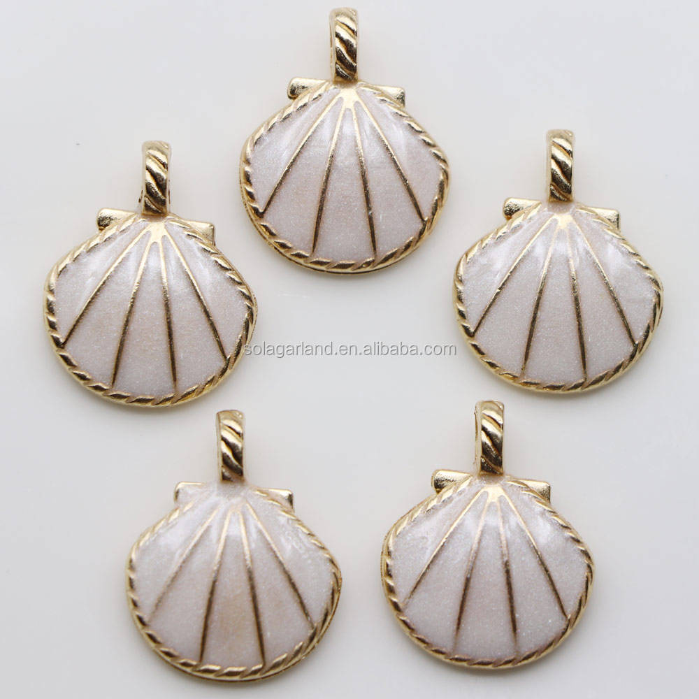 Factory Price Glitter Oil Drop Gold Tone Alloy Enamel Sea Shell Jewelry Pendant Charms For DIY Bracelet