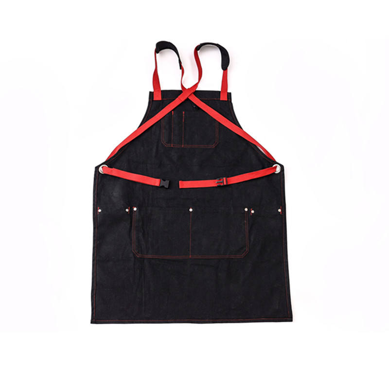 Wholesale custom made apron decompression shoulder strap denim restaurant apron