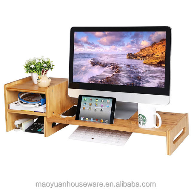Bamboo Wooden Laptop Monitor Stand Riser Office Desk Organizer