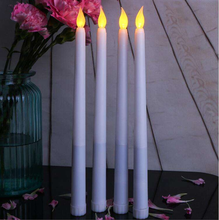11 Inch Battery Operated Flameless Taper Candles / LED Taper Candle Stick with Yellow Flicker Light for Hotels or Home Decoratio