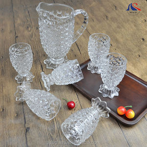 1.26 liter Glass Mug with 6 Pieces of Glass Tumblers Fish Scale Design 7pcs Glass Water Set