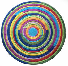 Round swirl rug, acrylic printed colorful round rug