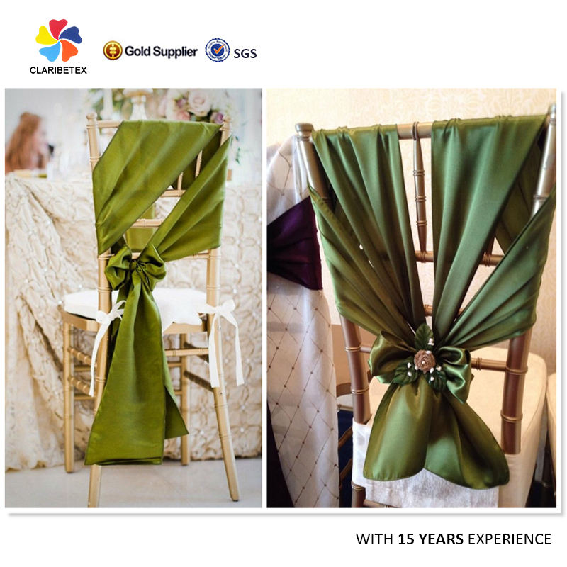 Fancy cheap 100% polyester satin fabric flower chair sash decoration wedding chair bow tie back