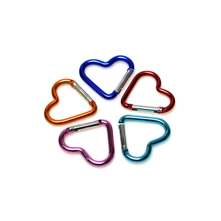 Fashion keychain aluminum heart shaped carabiner