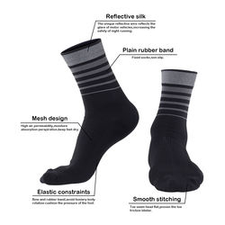 Marathon running socks night light reflective cycling socks safe non logo custom sport socks