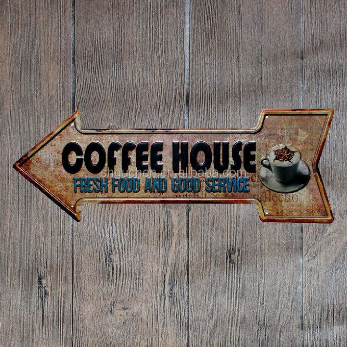 Coffee House Fresh Food Retro Arrow Metal Tin Signs embossed vintage metal plate Wall Decor for Bar Pub Home Restaurant Decor