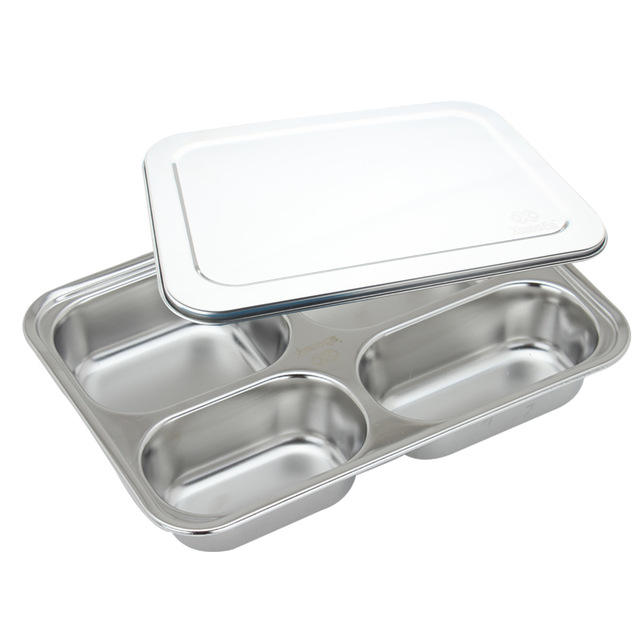 5 Compartment School Lunch Box High Quality Stainless Steel Mess Tray