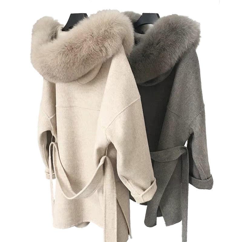 Mao Mao Fur New design Loose Size Cashmere Coat Winter Women Warm Fashion Belt Coat Oversize Hooded Long Wool Coats Women