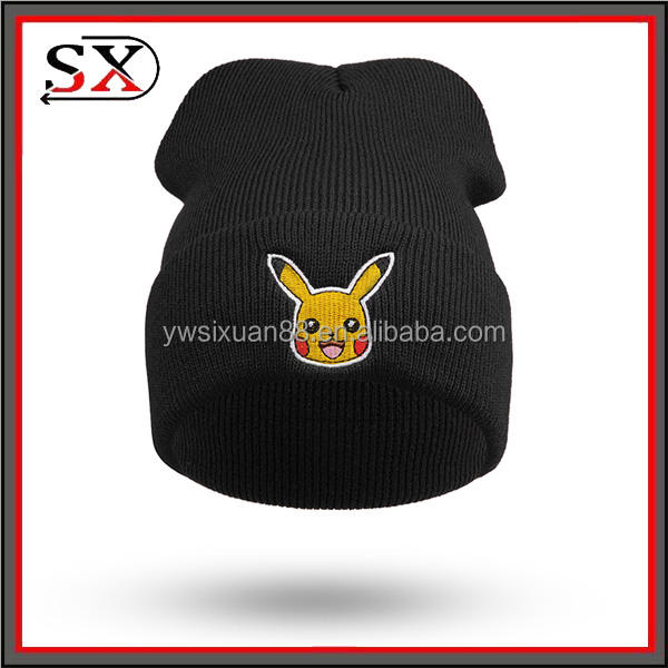 Multicolor colores punto Beanie hat sombrero de invierno fresco estilo Pokemon sombrero barba