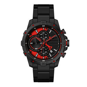 Oem high quality japan movt quartz chronograph sport black stainless steel watch back water resistant for sale