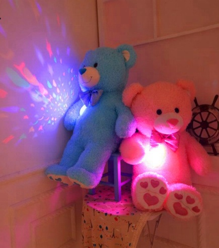 Free sample plush bear led light with music/plush bear colorful with led