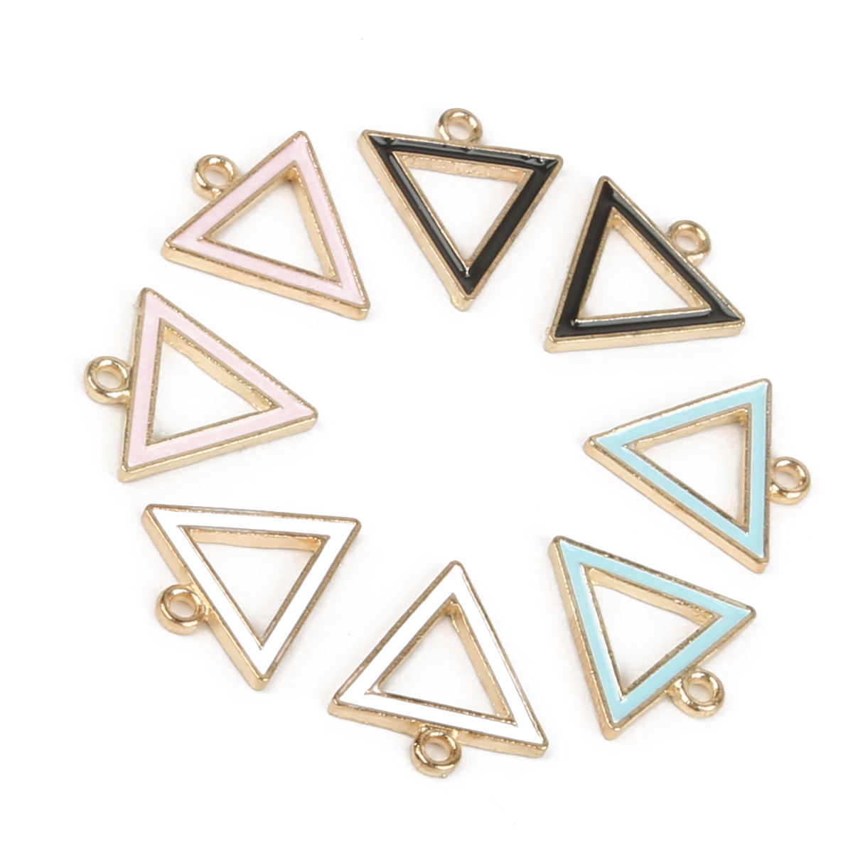 Hot 15mm Zinc Alloy Pure Color Enamel Hollow Geometric Triangle Shape Charm Pendant For DIY Earring Necklace Jewelry Findings