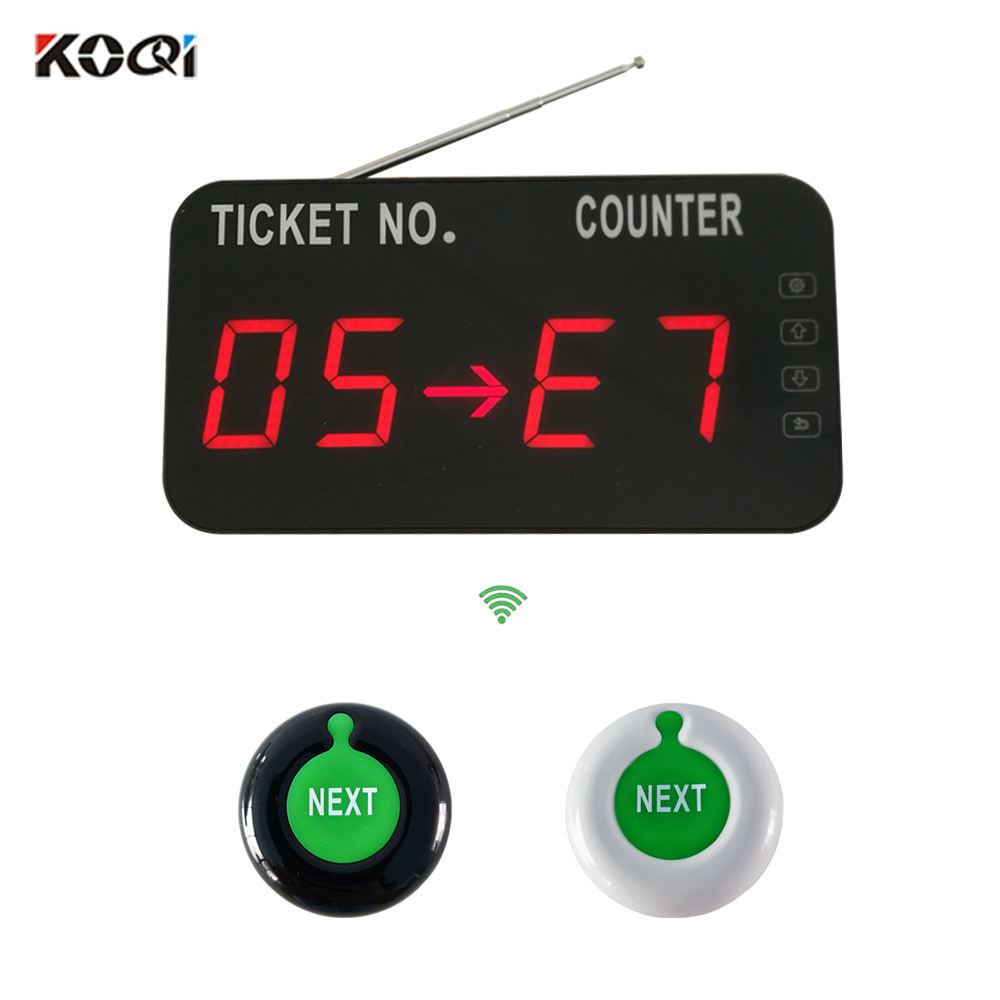 Queue Call System Wireless Simply Equipment For Bank Service Centrer 1 lcd display +2 waterproof call button